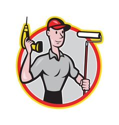 House painter paint roller handyman cartoon vector