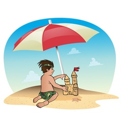 Boy beach sandcastle vector