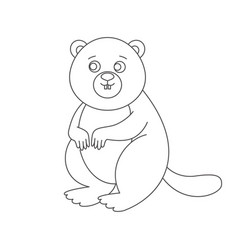 beaver for coloring book vector image