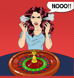 Hysteric woman behind roulette table vector