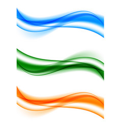 Abstract bright wavy curved lines set vector