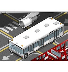 Isometric airport bus in front view vector