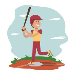 Physical education - sport boy play baseball vector