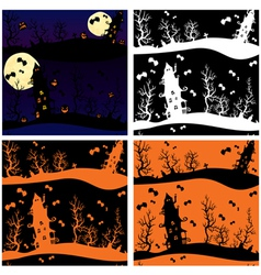 Set of seamless patterns - halloween night mystery vector