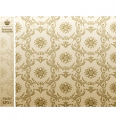 Seamless flower wallpaper pattern beige vector
