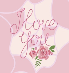 I love you floral print vector
