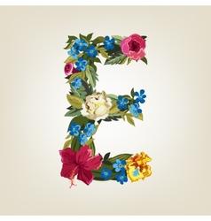 E letter flower capital alphabet colorful font vector