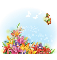 Arrangement of flowers vector