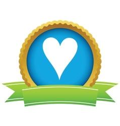 Gold heart card logo vector