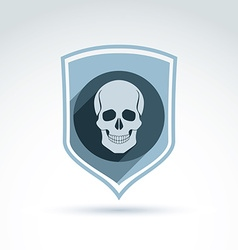 A human skull in a shield dead head abst vector
