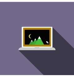 Laptop with photo icon flat style vector