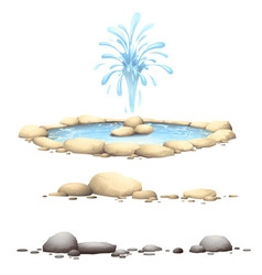 Rocks  stones and fontaine vector