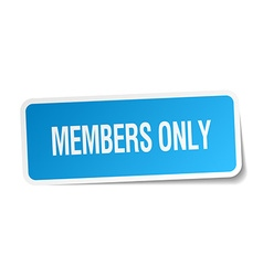Members only blue square sticker isolated on white vector