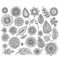 Big collection of hand drawn ornate fancy flowers vector image