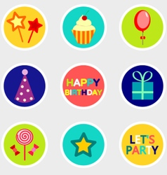 Birthday stickers set with icon vector image