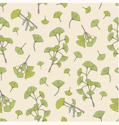 Botanical seamless pattern with green ginkgo vector