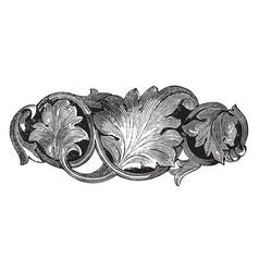 Brooch leaves pattern vintage engraving vector
