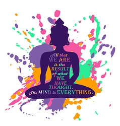 Buddha silhouette over colorful splash background vector
