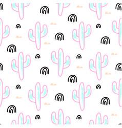 Cactus plant neon seamless pattern vector