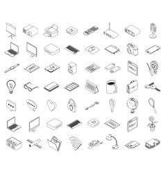 Computer technology and office equipment vector image
