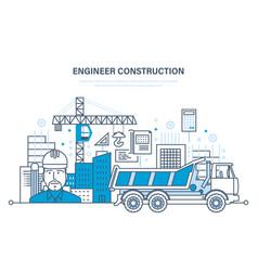 construction houses buildings construction sites vector image