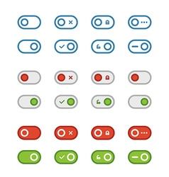 Different flat design sliders collection vector image