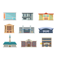 different municipal buildings police station vector image vector image