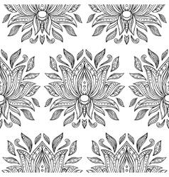 Doodle lotus seamless pattern vector