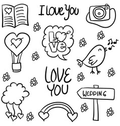 doodle of wedding element style hand draw vector image vector image