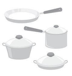 Equipment kitchen cook pot pan cartoon vector