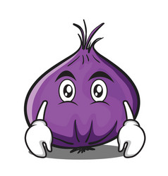 flat face red onion character cartoon vector image vector image