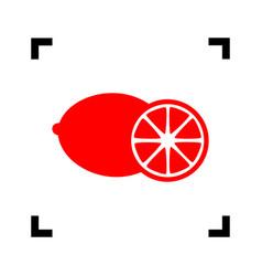 fruits lemon sign red icon inside black vector image vector image