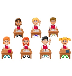 funny students cartoon learning vector image