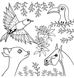 Hand draw collection of animals and birds vector