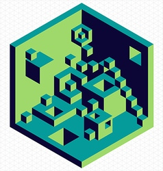 Isometric 3d cubes shape vector image vector image