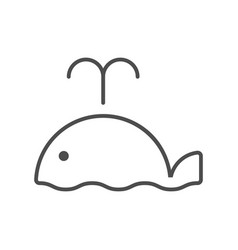 line style icon with cute whale vector image