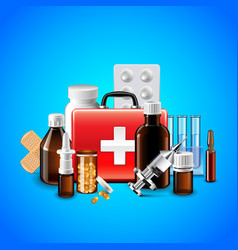 medical objects on blue background vector image vector image