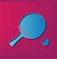 Ping pong paddle with ball blue 3d vector