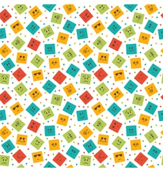 Seamless pattern with smiley squares Cute cartoon vector image