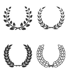 set of laurel wreaths isolated on white vector image vector image