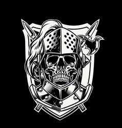 Skull of knight warrior with crossed weapon vector