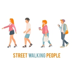 Street walking people vector