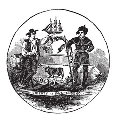 The official seal of the us state of delaware in vector