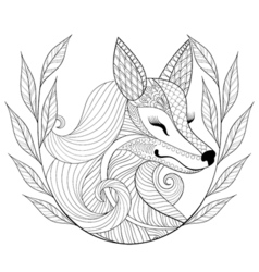 Zentangle Fox face in monochrome doodle style Hand vector image