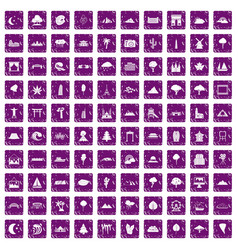 100 view icons set grunge purple vector image vector image