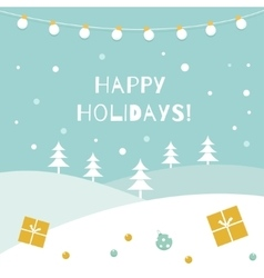 Happy holidays winter background garland of vector