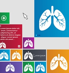 Lungs icon sign buttons modern interface website vector
