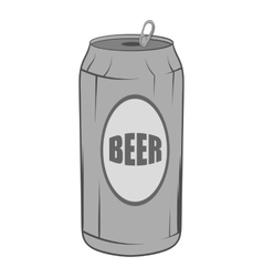 Aluminum beer icon black monochrome style vector