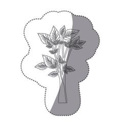 Sticker gray color leafy tree forest icon vector