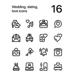 Wedding dating love icons for web and mobile 2 vector